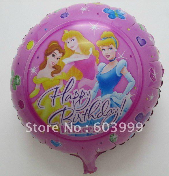 wholesale 18inch/ 45cm Princess Happy Birthday Balloon Bouquet Belle Cinderella Sleeping Beauty, 100pcs/lot, Free Shipping(China (Mainland))