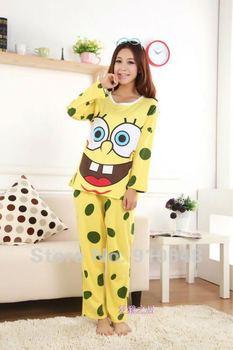 2013 women spring-autumn long sleeve spongebob knitting cotton pajamas set / cute homewear for women/ nightwear