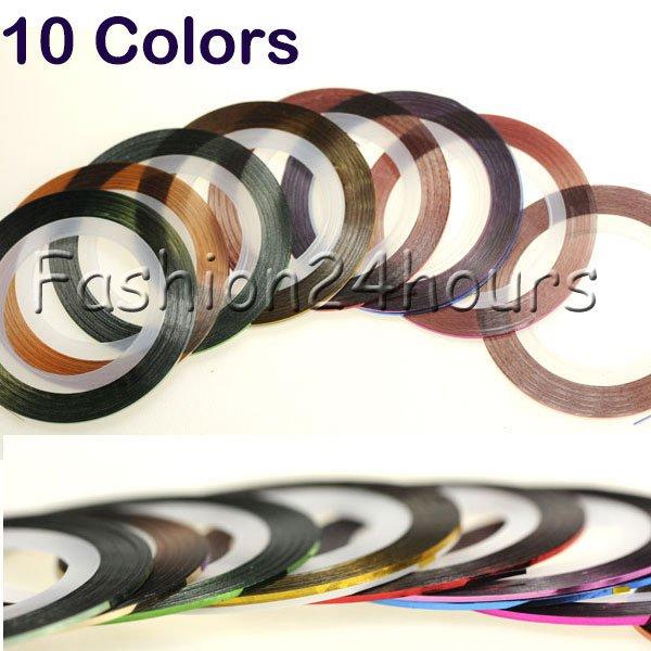 100pcs/lot 10 Color Rolls Strip Striping Tape Line Nail Art Tips Decoration Sticker DIY Free Shipping(China (Mainland))