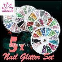 5 WHEEL 12 MIX COLOR Nail Art rhinestone Decoration For UV Gel Acrylic Systems Free Shipping