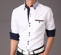 Free shipping 2012 autumn new jack fashion stripes collar men Shuangkou long-sleeved shirt Slim shirt men's shirt
