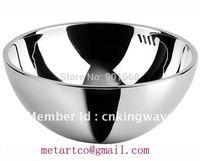 Big countertop  double walls stainless steel 304 bathroom vessel wash basin wash bowls-2pcs/lot