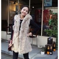 free shipping best winter fashion rabbit fur coat vest for women