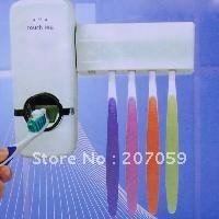 Free Shipping New White Automatic Auto Toothpaste Dispenser Toothbrush Holder Holes SET