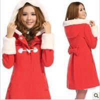 free shipping hooded slim wool woolen overcoat long lady outerwear