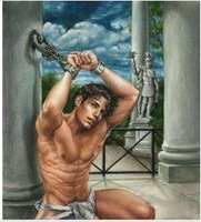 Charming Art portrait oil painting:male nude 24X36inch Guaranteed 100% Free shipping