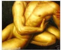 Charming nude Oil on canvas numbered Giclee Painting: Gay Interest 24x36 100% Free shipping h-876