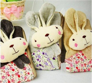 Free shipping by EMS/Cute Cotton Fabric  Rabbit phone case/cell phone pouch/coin bag/Collecting bag/Christmas Gift/60pcs/lot