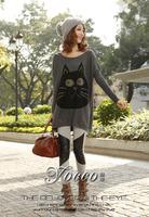 2012 fashion women batwing shirt rhinestones rabbit hair sweater / printing plus size all-match sweater clothing FREE SHIPPING