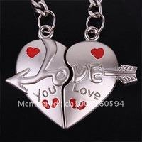 """Free shipping (40PR/LOT )Wholesale  """"An arrow wear heart """" Lover Couple Keychain Heart Shape Alloy Key chain ring"""
