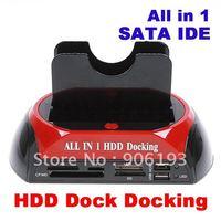 "FEDEX Free Shipping 5pcs/lot 2.5"" 3.5"" SATA/IDE 2-Dock HDD Docking Station e-SATA/Hub, +Drop Shipping"
