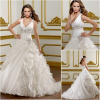 ML107 Custom made v-neck with wide straps beaded organza layered lace up wedding dress