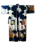 Sexy Navy Blue Chinese Women's  Silk Rayon Robe Kimono Bath Gown Flowers S M L XL XXL XXXL Free Shipping S0015