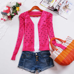 Free shooping 2012 women's long-sleeve small heart cardigan sweet all-match cardigan(China (Mainland))