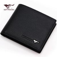 2014 hot sale gift  wallet men short design genuine leather wallet cowhide wallet