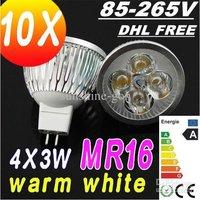 Promotion DHL FREE MR16 220V GU5.3 12W LED SpotLight Bulbs lamps 85V-265V downlights 4X3W