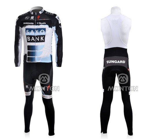 Free shipping!2011 saxo bank sungard team cycling jersey +bib pants ...