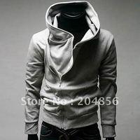 free shipping male oblique zipper with a hood sweatshirt Men long-sleeve outerwear men's clothing grey hoodie