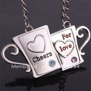 "Free shipping (40PR/LOT )Wholesale Love Cup Couple Lover Key Ring Keychain ""Cheers for love""Valentine`s day gift Christmas gift(China (Mainland))"