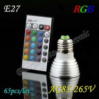 65PCS/lot New E27 3W 16 Color Changing RGB LED Light Bulb Lamp DC 12V+24Key IR Remote Free Shipping DHL