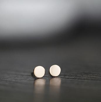 Rhinestone circle bow classic titanium 18k gold small beans gold stud earring anti-allergic