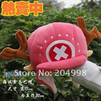 "Free shipping Anime One piece Tony Tony Chopper Plush hat 8"" Winter cap Toy Wholesale"