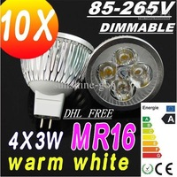 Sales DHL FREE 5PCS MR16 220V GU5.3 12W Dimmable LED SpotLight Bulbs lamps 85V-265V downlights 4X3W