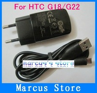High Quality OEM EU Wall Charger+Micro Usb Cable Case For HTC EVO 4G/EVO 3D/G18/G22 Free shipping