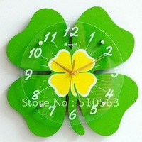 gz039 HOT 1pcs The sitting room the fashion simple creative rural style art bedroom green clovers silent personality wall clock