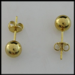 MIN ORDER/ONE PIECE/BALL 18K YELLOW GOLD GP OVERLAY SOLID FILLED BRASS STUD DIAMETER 0.24&quot; EARRING/FREE SHIPPING/GREAT GIFT/(China (Mainland))