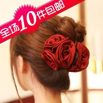 1188 beautiful ! big gripper hair accessory solid color 3 rose hair accessory hair accessory