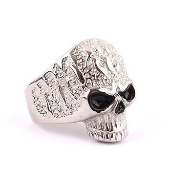 Ring titanium heterochrosis skull male boys Men ring finger ring zd8008