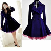 S-XL free shipping Manufacturers supply Women's Blue purple yarn wool coat slim thick winter coat # T123