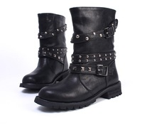 Women Black Leather Punk Lace Up Rivet Motorcyle Military Combat Boots size 5-9 free shipping