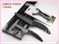 Ceramic knives set 4 INCH + 6 INCH +1 Peeler Black ceramic knife Kitchen Knives suit 1SET/LOT NEW