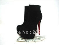 Freeshipping! new arrival fashion sexy short boots,suede high heels with platform, high quality lady pumps women black shoes14cm