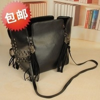 Women's handbag 2012 skull rivet tassel bucket bag vintage rivet messenger bag women's Casual Fashion handbags freeshipping