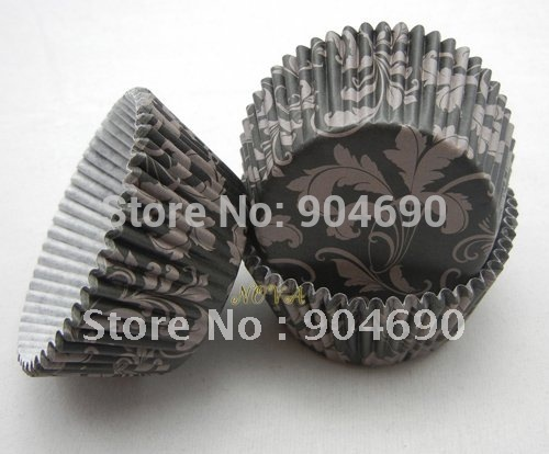 1000 matte silver damask leaf black cupcake liners muffin/Cupcake Cake liners cup-Shrink wrap(China (Mainland))