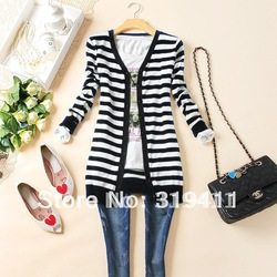 Free shipping fashion black and white stripes long-sleeve cardigan knitted sweater outerwear coat for women WC0215(China (Mainland))