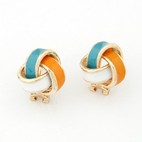 Min order $10 Sweet fashion rose stud earring glaze spirally-wound ear buckle multicolor