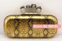free shipping new arrival pu snake striped classic women 4 ring buckle skull box clutches/fashion party bags.wholesale