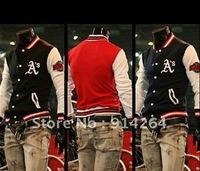 Free Shipping 2012 men's baseball uniform fashion Slim casual long-sleeved fleece sweater