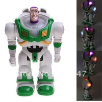 0902 Cool Buzz Light-year Robot Toy Model Desktop Display with LED Light and Music for Fans Kids (White with Blue)