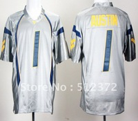 Free Shipping!!! 2012 new style #1 Tavon Austin West Virginia Mountaineers Grey College Football Jersey