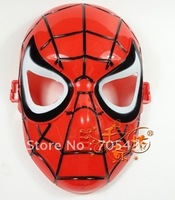 Cosplay Glowing Spiderman/ Spider Man Mask with Blue LED Eyes Make up Toy for Kids Boys 100pcs