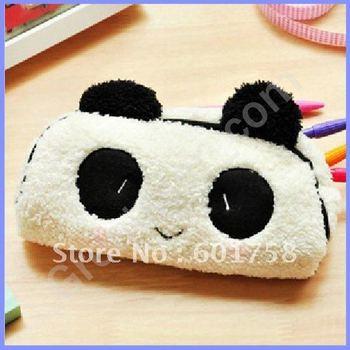 Cute Soft Plush Panda Pencil Pen Case Bag in Bag Cosmetic Makeup Bag Pouch#6417 Drop shipping