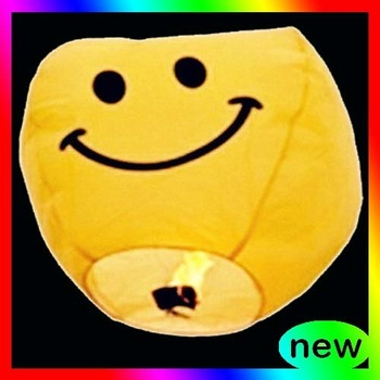 28pcs Yellow smiling face cylinder Sky Chinese Lanterns wish Party Wedding Birthday Xmas Celebration Sky lanterns Paper lantern