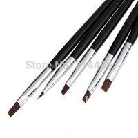 5PCS Nail Art Acrylic UV Gel Salon Pen Flat Brush Kit Dotting Tool