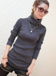 women's medium-long thermal sweater turtleneck basic shirt thickening  wool free shipping