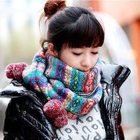 Jonadab autumn and winter female vintage scarf bohemia jacquard yarn hair balls muffler scarf
